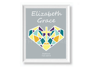 Personalized Art Print: Birth, Baptism, First Holy Communion Remembrance - Gray
