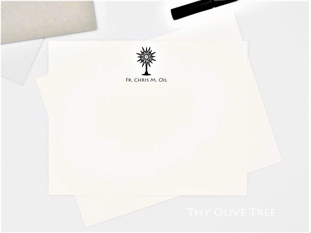 Personalized Catholic Stationery for Priests and Religious / Ordination Gift / Monstrance