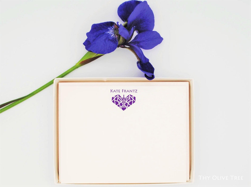 Personalized Christian Stationery: Stained Glass Heart & Cross