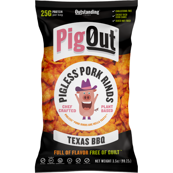Pig Out Vegan Pigless Pork Rinds - Texas BBQ