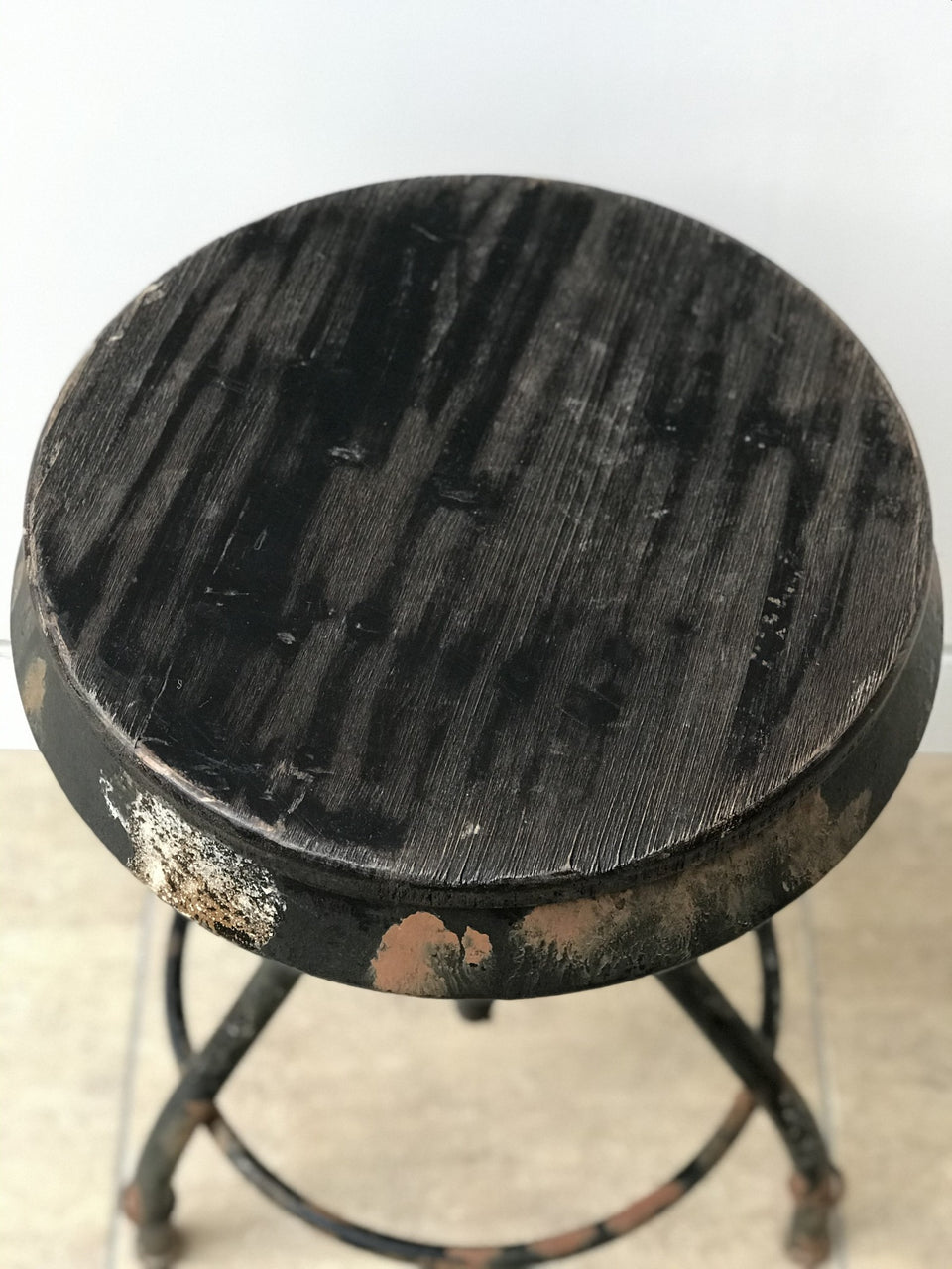 adjustable industrial stool with wooden seat