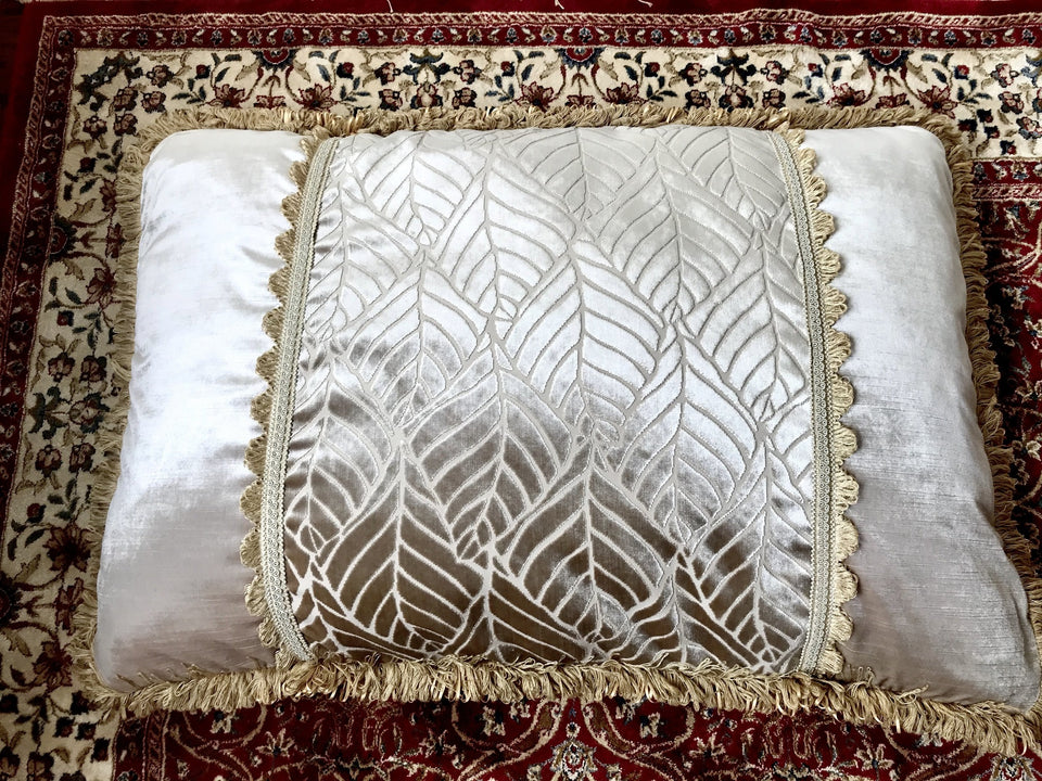 A set of Three Large and Luxurious Damask Floor Cushions