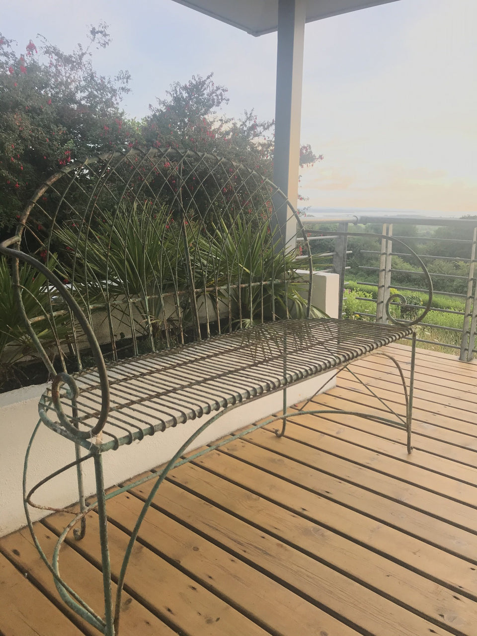 vintage metal wire garden bench