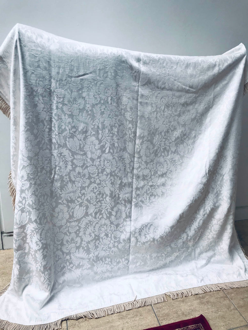 Large Cream Patterned Throw