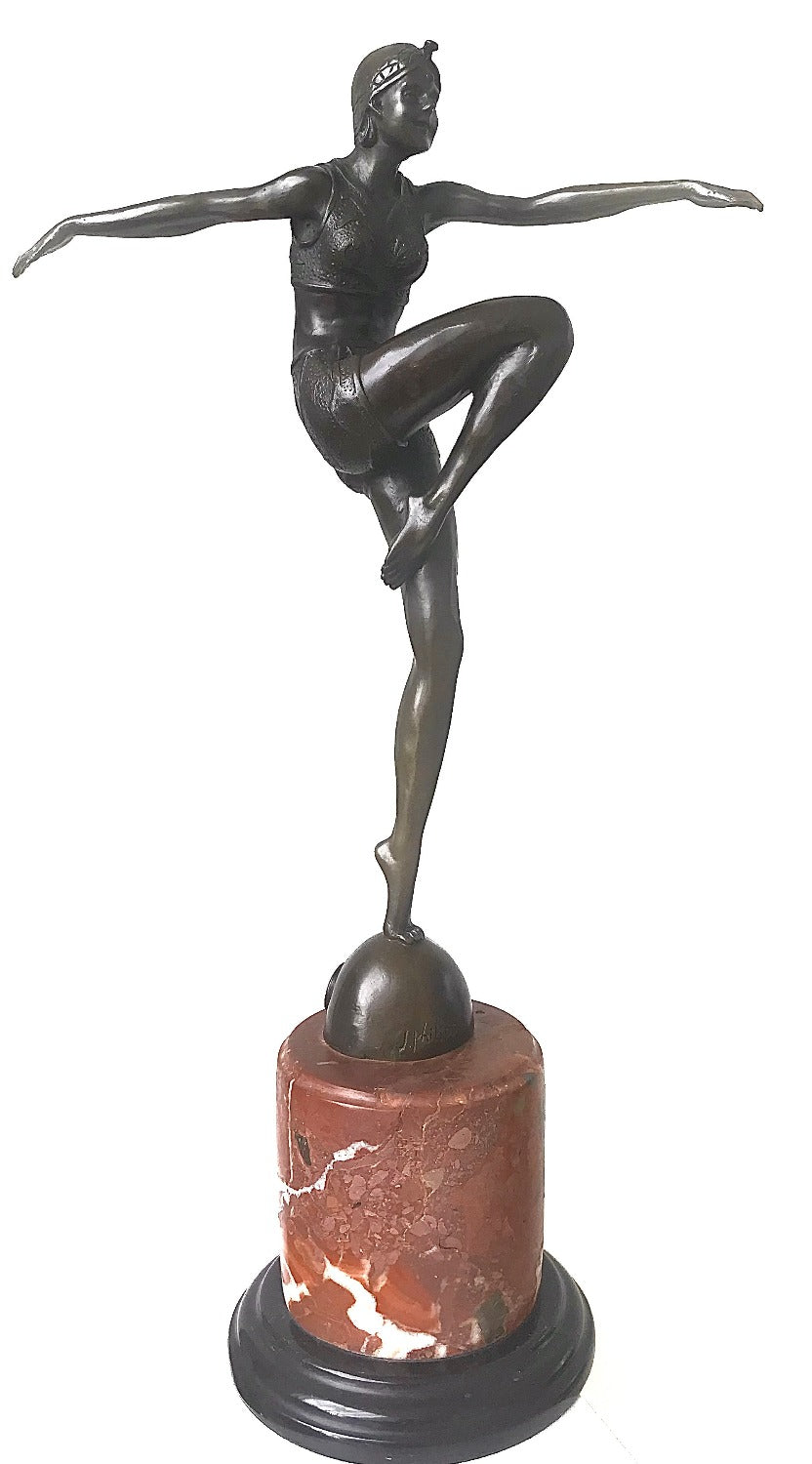 Art Deco bronze statue of a 1920's dancing girl