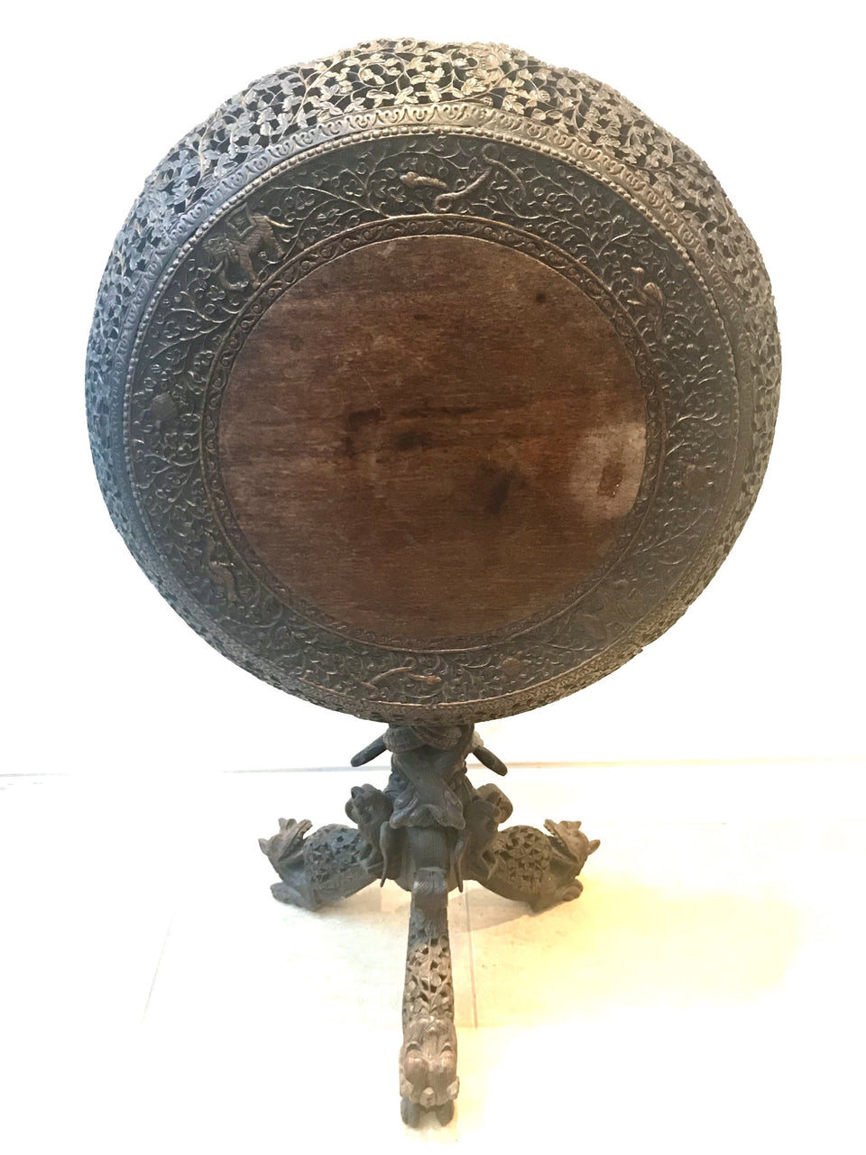 Rare Carved and Pierced Anglo-Indian Tilt Top Table