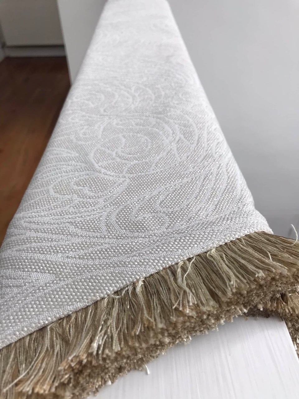 Heavy Cream Throw with a Subtle Floral Pattern