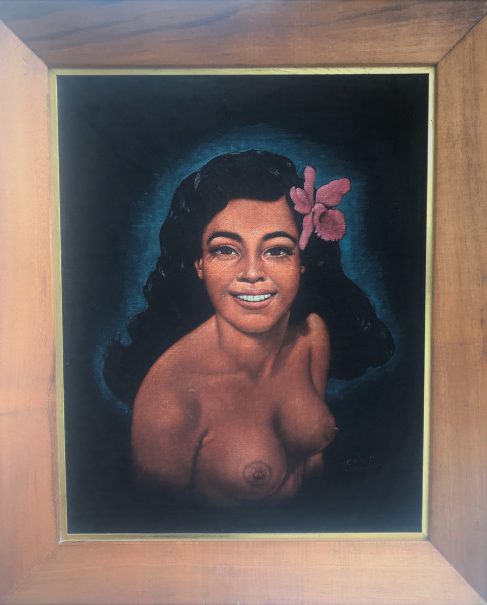 oil on velvet painting of Honolulu Girl