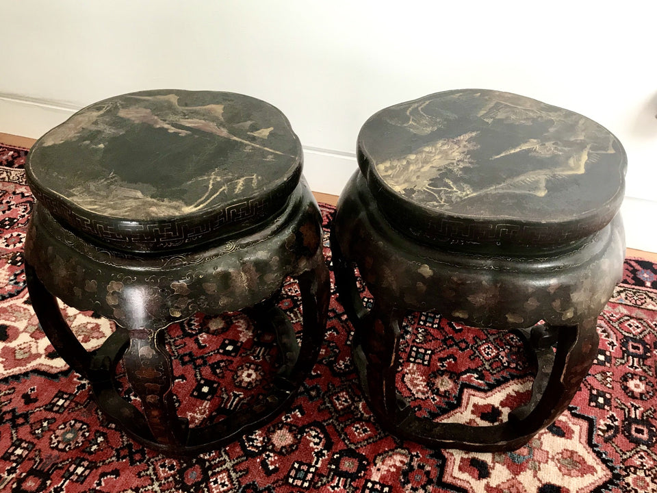 Antique Chinese lacquered stools
