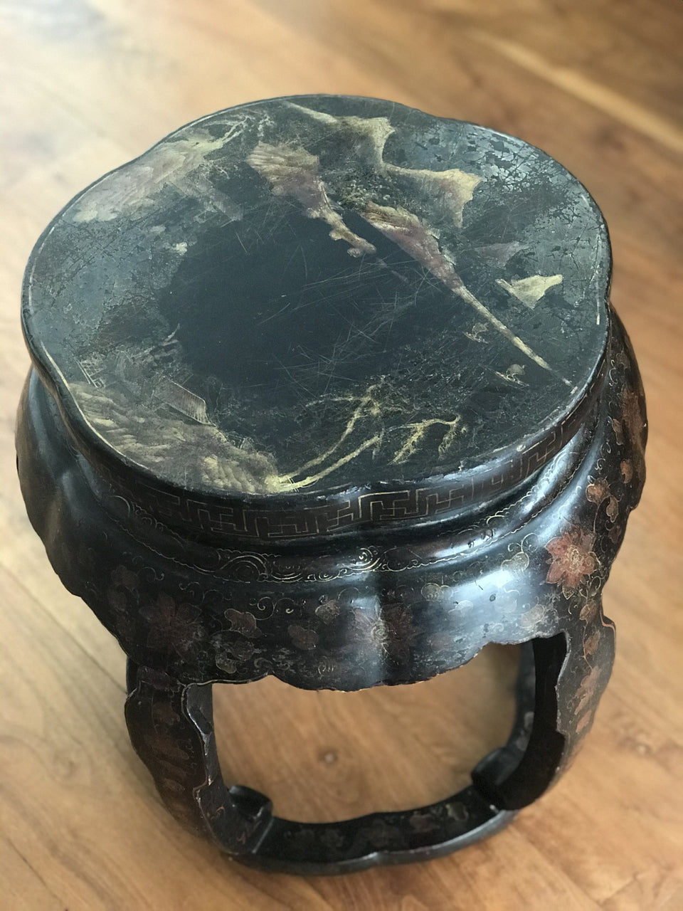 Antique Chinese lacquered stool