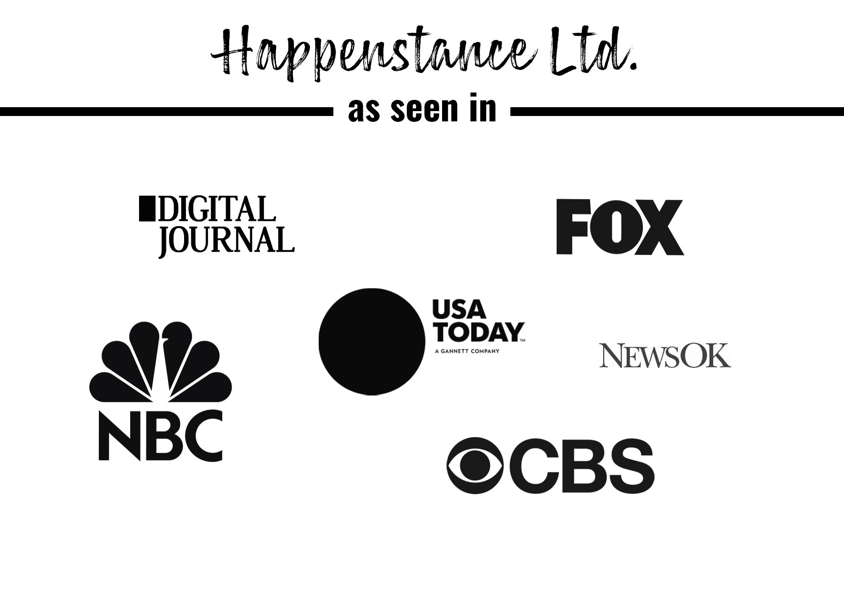 Logo images of press where Happenstance Ltd. has been featured