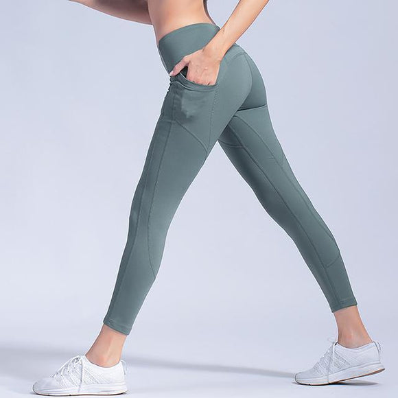 Yoga Pants Leggings Women's Elastic Tights Quick-dry Running Sports Pants Peach High Waist Pocket cheap jerseys cheap jerseys from china cheap jerseys china 1