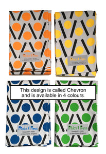 Orange, yellow, blue and green teatowels