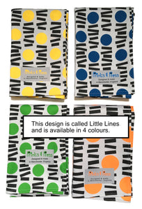 Yellow, blue, green and orange teatowels