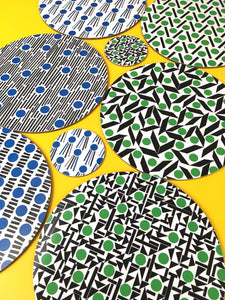 Set of 4 Round Placemats - blue & green