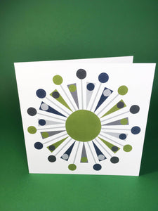 Green Triangle Greeting card, blank inside