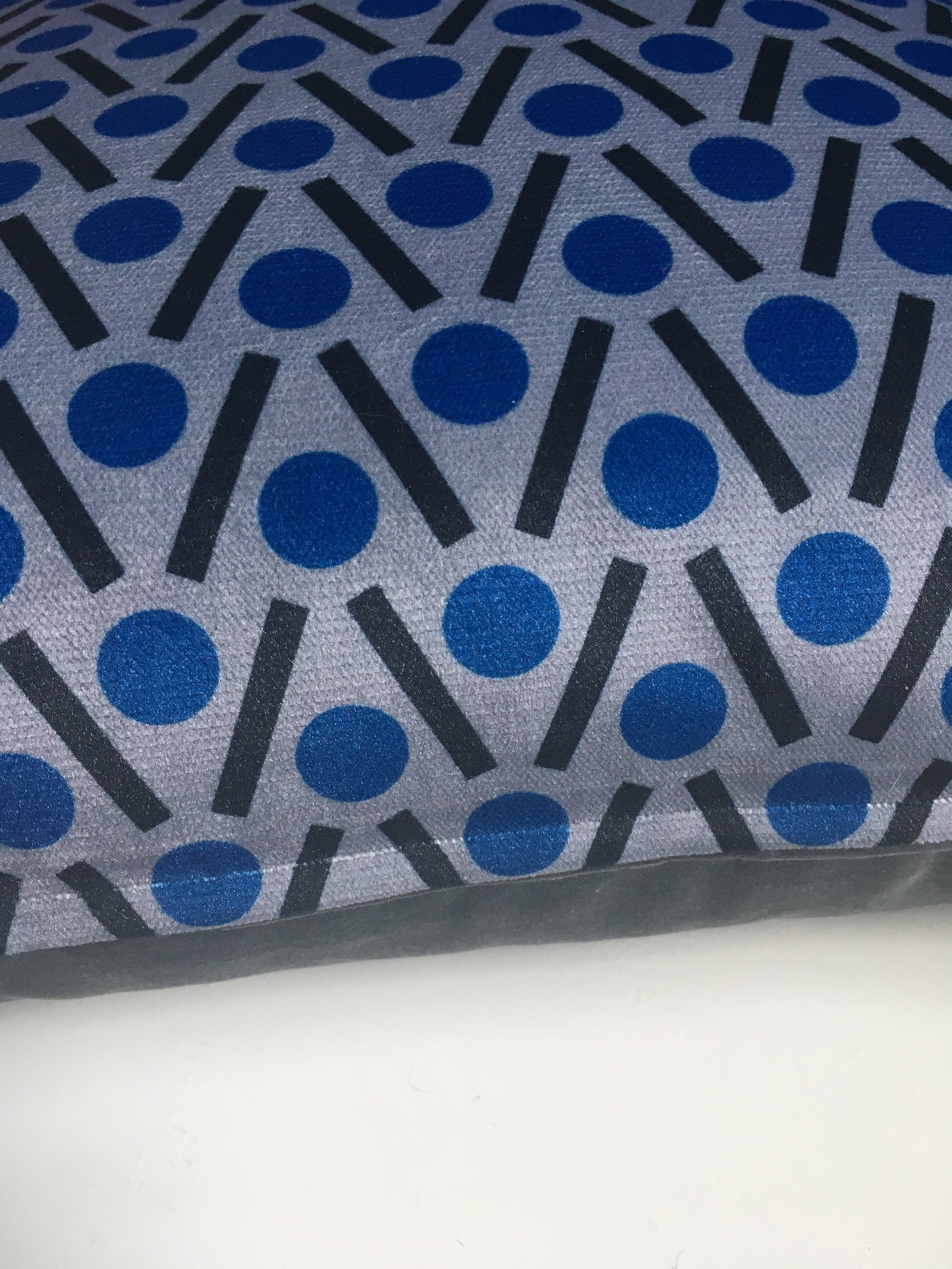 Chevron Square Velvet cushion in Blue