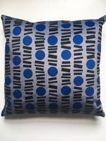 Load image into Gallery viewer, Little Lines Square Velvet cushion in Blue