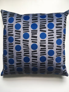 Little Lines Square Velvet cushion in Blue