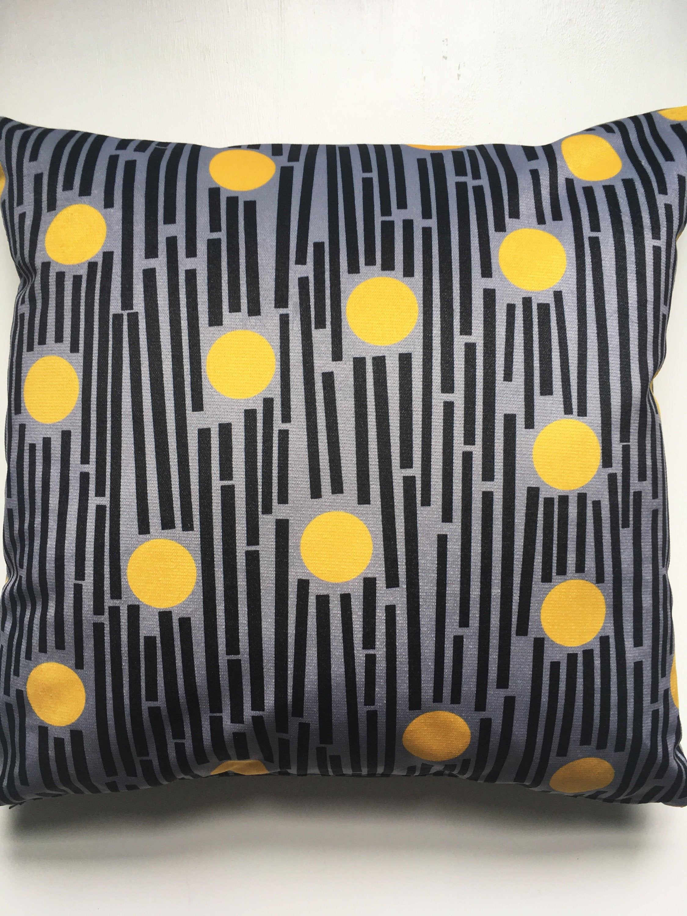 Linear square velvet cushion in Yellow