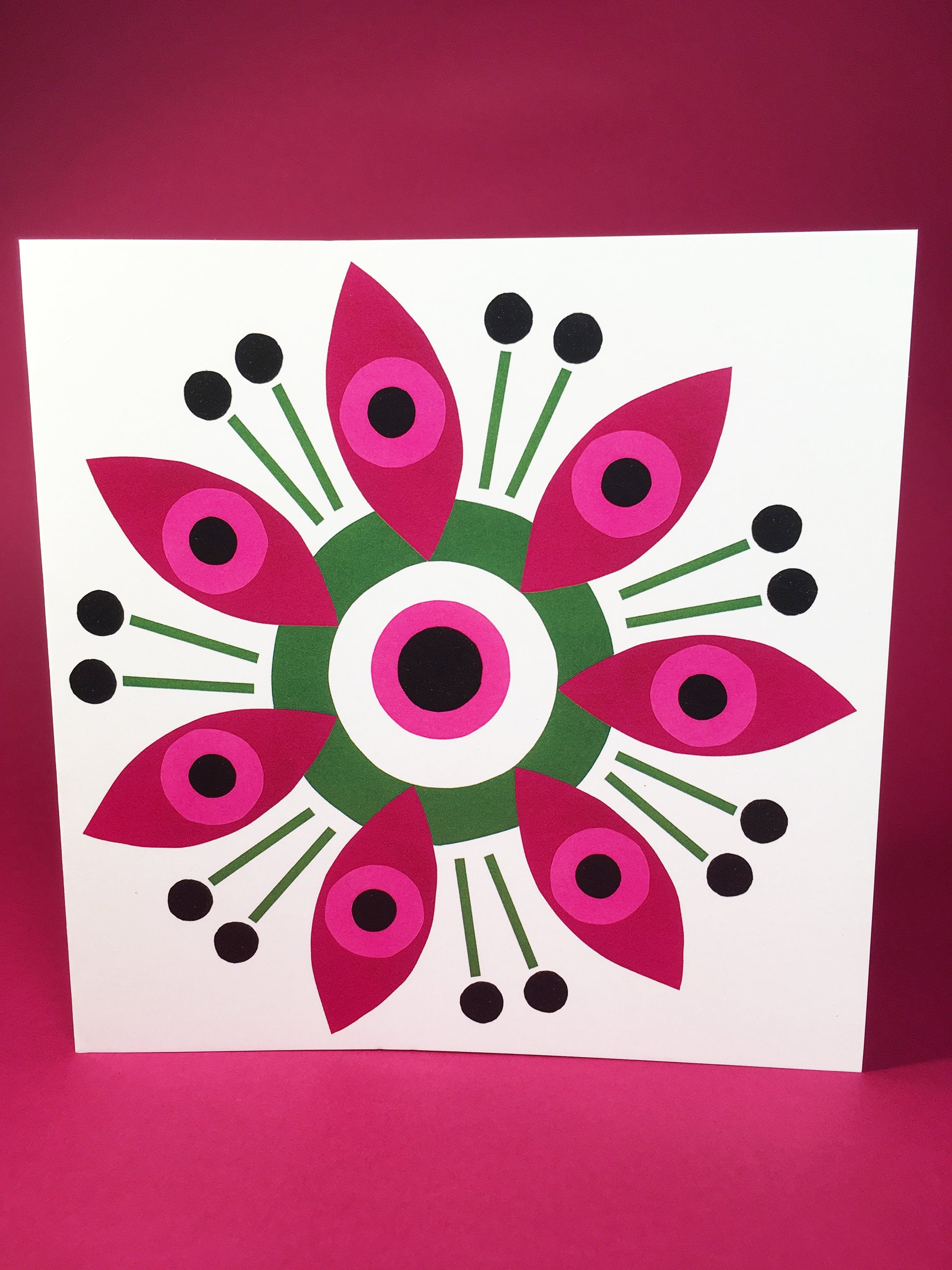 Pink and Green square blank greeting card