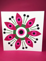 Load image into Gallery viewer, Pink and Green square blank greeting card