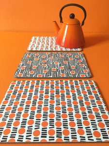 Orange cork placemats