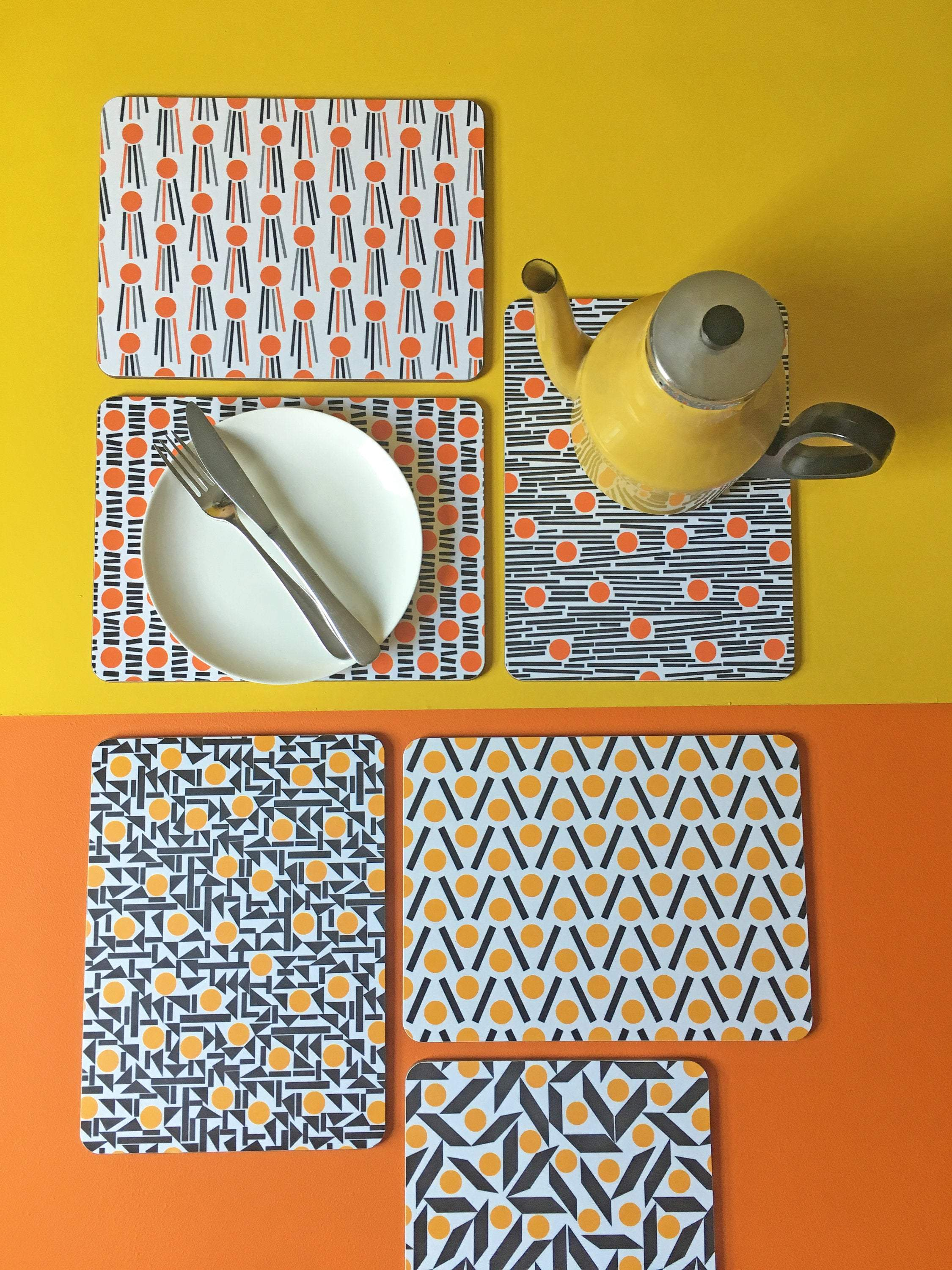 Orange and yellow cork placemats