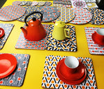 Load image into Gallery viewer, Set of 6 placemats - yellow & orange