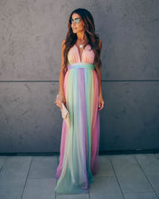 Load image into Gallery viewer, Wonderland Rainbow Striped Maxi Dress