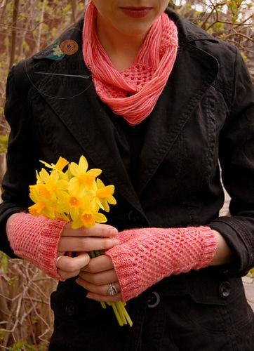 Pink Grapefruit Cowl And Mitts Pattern