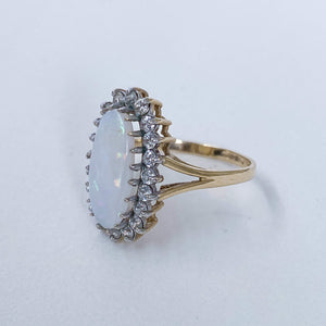 Vintage Opal & Cubic Zirconia Halo Ring