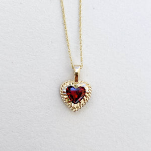 Garnet Heart Pendant with Chain