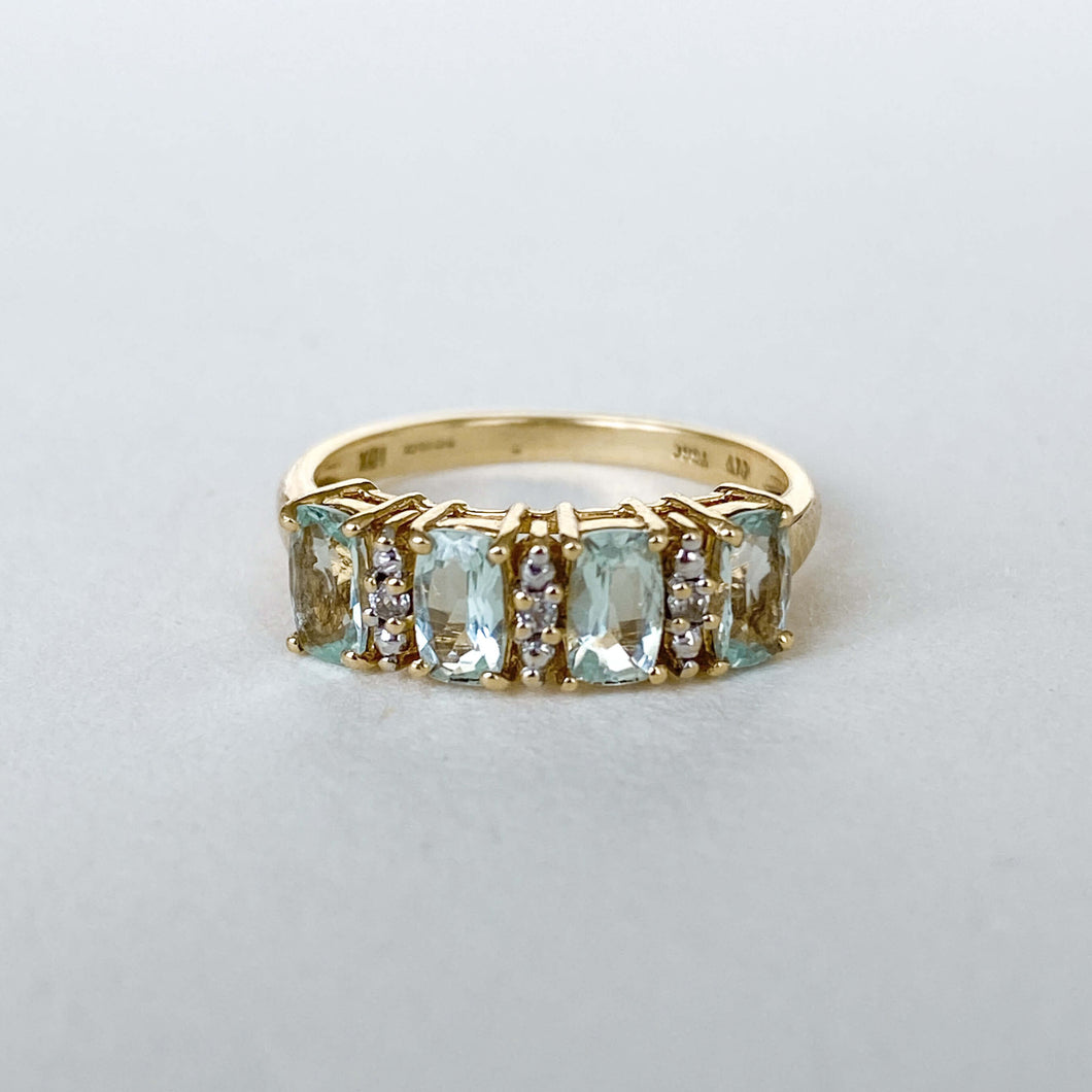 Vintage Ruby & Opal 3-Row Ring