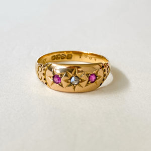 Vintage Ruby & Diamond Gypsy Ring