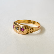Load image into Gallery viewer, Vintage Ruby & Diamond Gypsy Ring