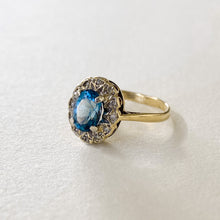Load image into Gallery viewer, Vintage Topaz Diamond Halo Ring