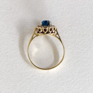 Vintage Topaz Diamond Halo Ring