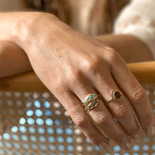 Load image into Gallery viewer, Vintage Turquoise & Pearl Gypsy Ring