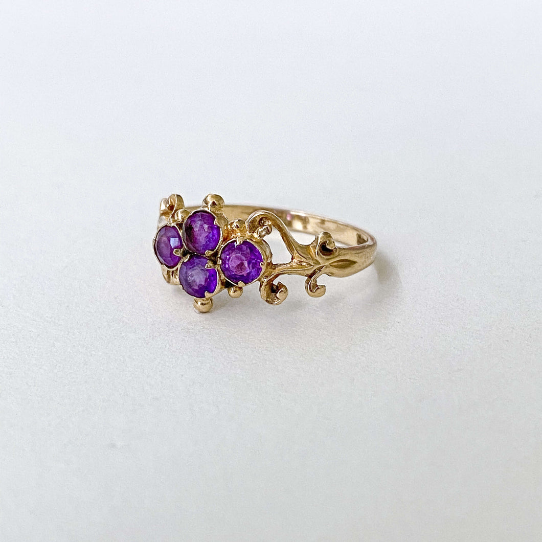 Vintage Amethyst Curly Ring