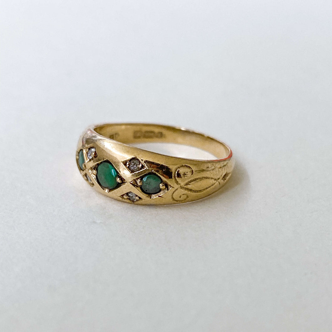 Vintage Emerald & Diamond Gypsy Ring
