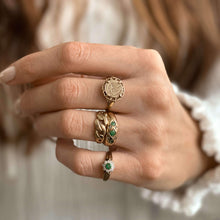 Load image into Gallery viewer, Vintage Emerald & Diamond Gypsy Ring