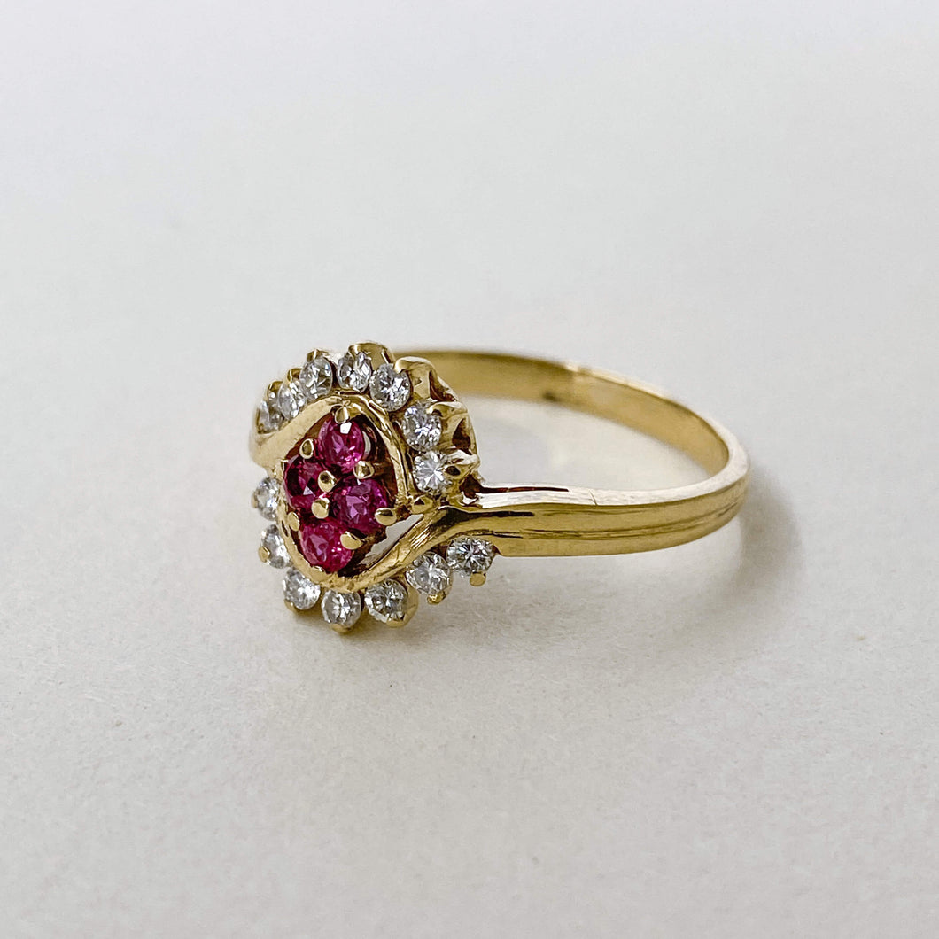 Vintage Ruby & Diamond Twist Ring