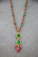 Load image into Gallery viewer, Gold Cotton Necklace with Green Onyx and Pink Tourmaline