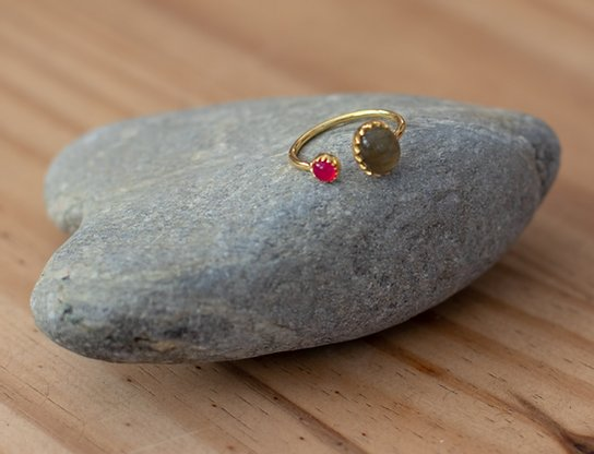 Gold Vermeil Two Stone Ring in Labradorite & Pink Chalcedony