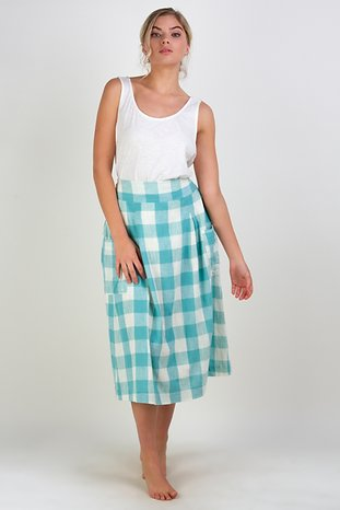 Check Midi Pocket Skirt