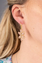 Load image into Gallery viewer, Gold Plated Flower Hook Earrings