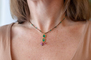 Gold Cotton Necklace with Green Onyx and Pink Tourmaline