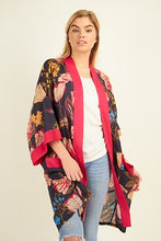 Load image into Gallery viewer, Long pocket kimono-Navy tulip with pink trim