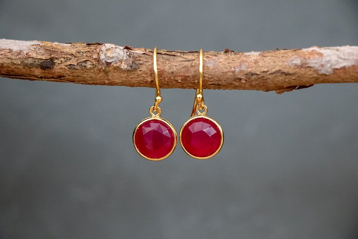Gold Plated Hook Earrings in Pink Chalcedony